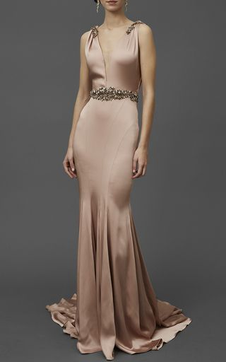 Silk Satin V Neck Gown by MARCHESA for Preorder on Moda Operandi