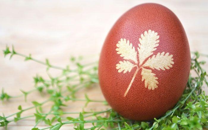 Ostereier marmorieren funktioniert auch, indem man Pflanzen vor dem Färben auf das Ei drückt. Ergibt schöne Pflanzenmotive.