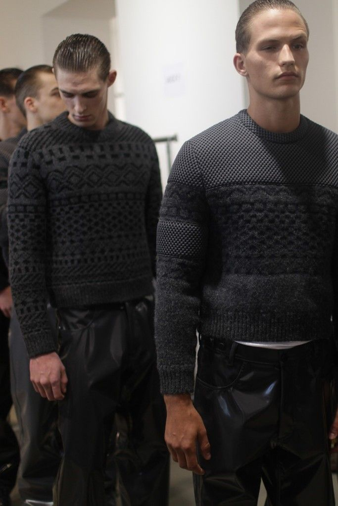 Waiting for the runway backstage at Calvin Klein Men's RTW Fall 2015. [Photo by Kuba Dabrowski]