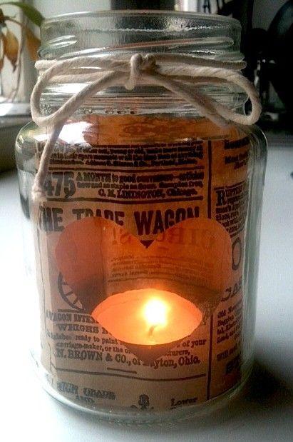 Glass jar tea light
