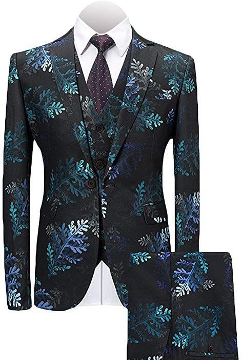 6354493ae6 MAGE MALE Men's 3-Piece Suit Notched Lapel Floral Print One Button Modern  Blazer Vest Pants Sets at Amazon Men's Clothing store:
