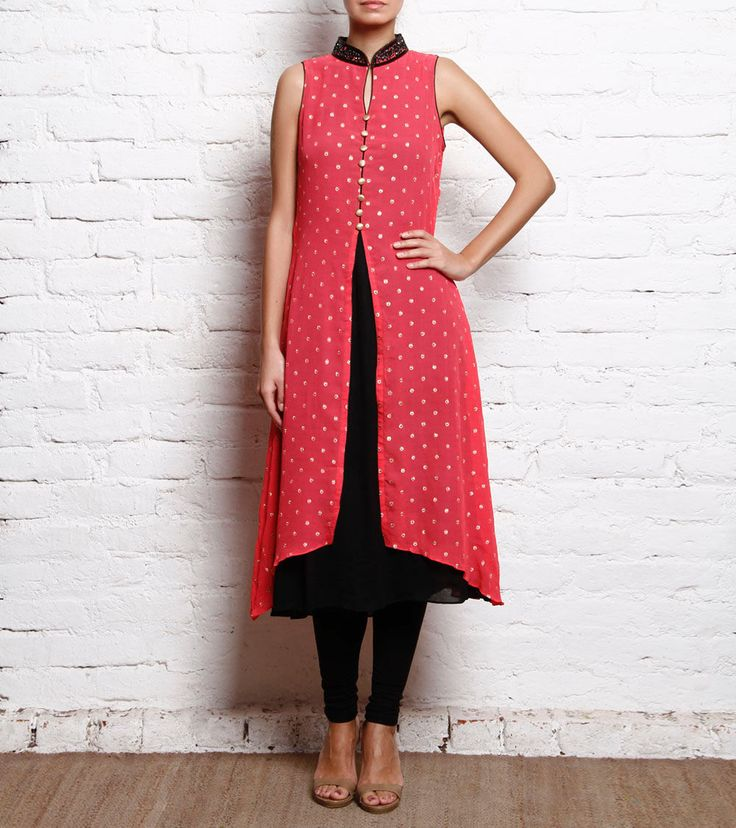 Red Chiffon Embroidered Kurti With Black Churidar