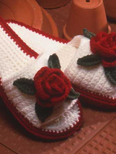 Rose Slippers - free crochet pattern