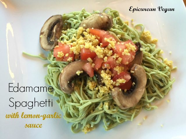 Edamame Spaghetti with Lemon-Garlic Sauce: This organic, gluten-free, vegan dish is tasty, easy to make, and a great, healthy option for lunch or dinner.