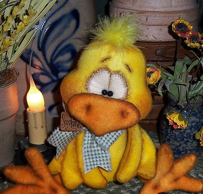 "Primitive Canary Chicken Chick Bird Fuzzy 7"" Bear Doll Vtg Patti's Ratties Ornie"
