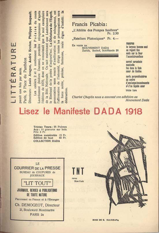 MANIFESTE DADA 1918   READ THE DADA MANIFESTO 1918
