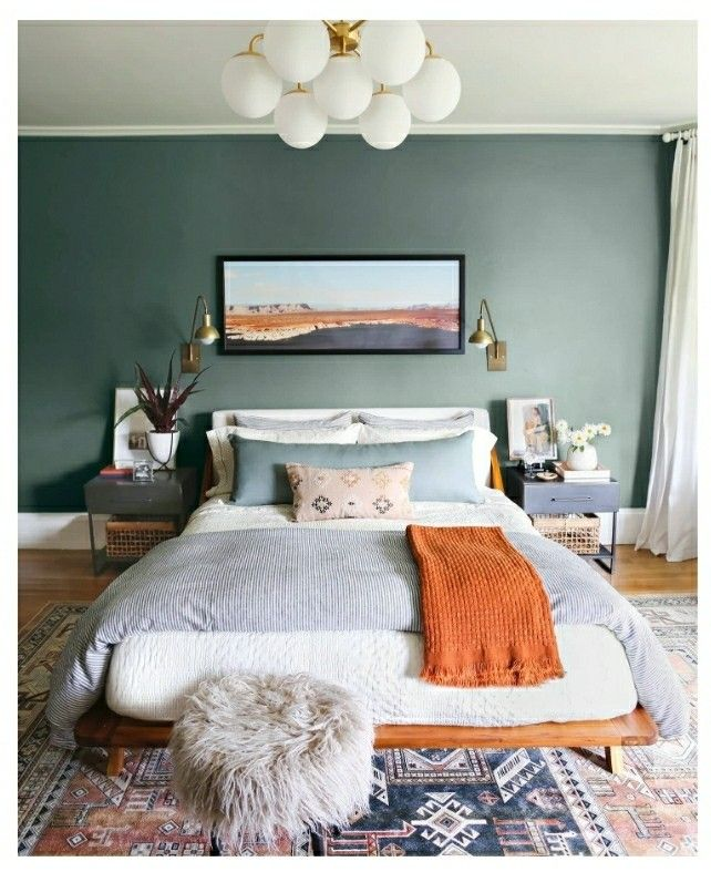 Get baskets for bedside tables. And gold/brass lamp. | Our ...
