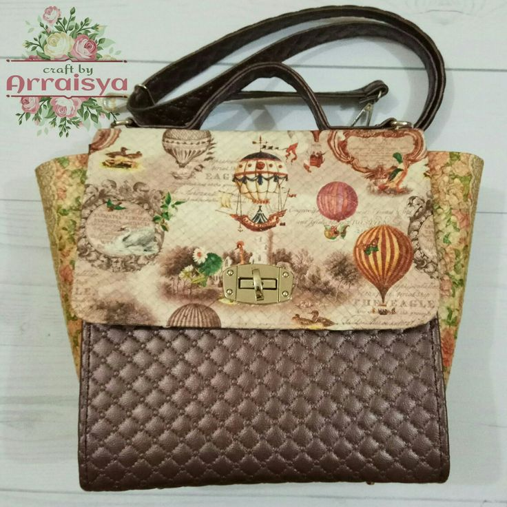 Découpage on Pandanus Woven Handbag with strap