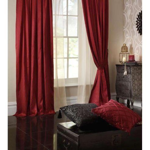 buy catherine lansfield home plain faux silk curtains 90x90 229x229cm ruby tie
