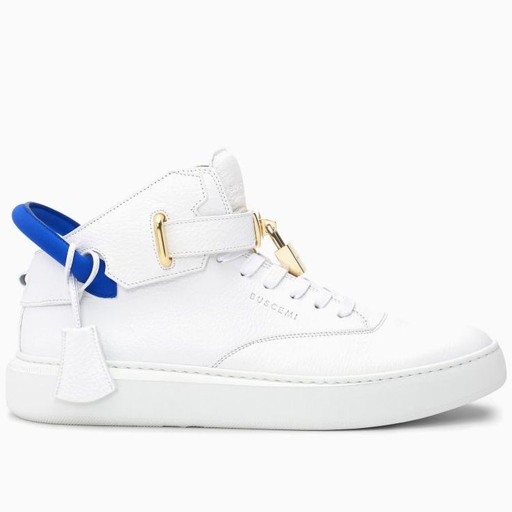 Buscemi Men's 100MM Mid White Neon Sneakers #shoes #sneakers #buscemi #christmas #gifts #fashion #liftstyle