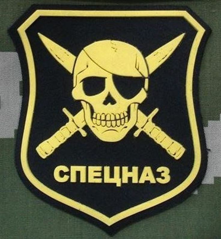 2 Russians Military Patches Special Forces Skull Dagger AK-47