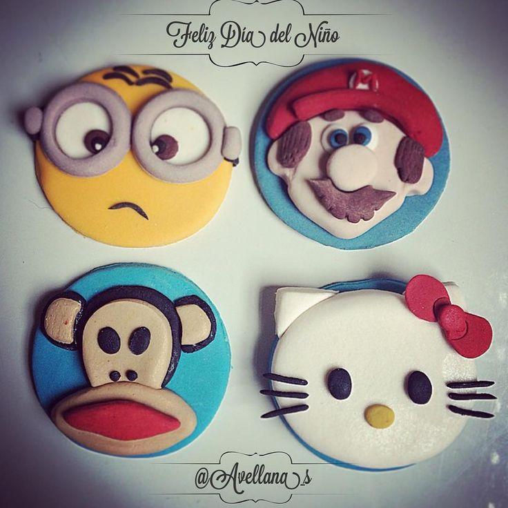 Toppers cupcakes dia del niño, Minions, Paul Frank, Hello Kittii, Mario Bro