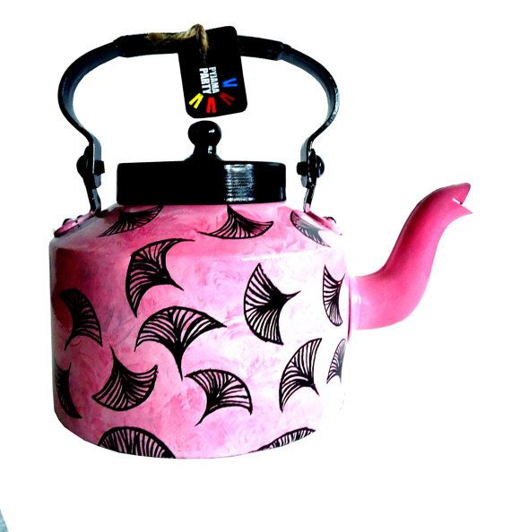 Pink Autumn -hand-painted teapot/kettle form India