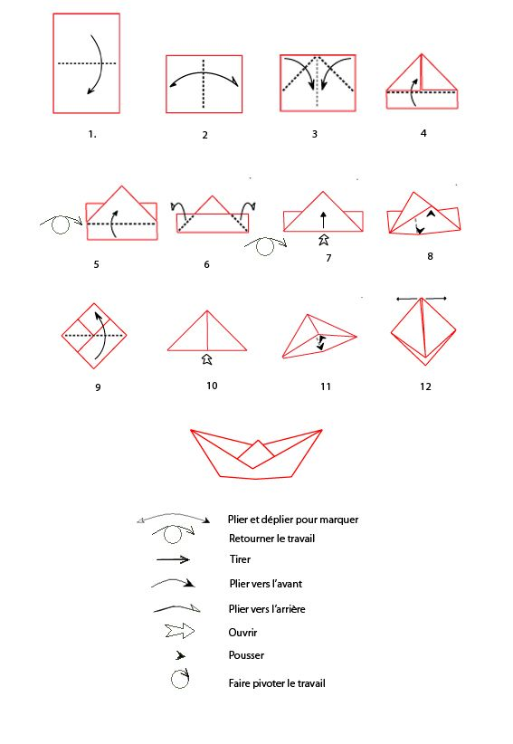 Croquis origami du bateau imprimer croquis et origami - Origami bateau facile ...