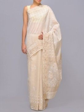 Tissue Chanderi Chikankari Saree