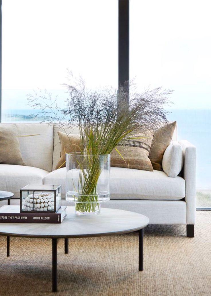 Neutral coastal/beach living room.  For more pins please follow me at https://www.pinterest.com/annelouise1959/beach-coastal-interiors/
