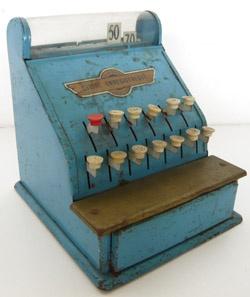 Ancienne caisse enregistreuse bleue jouet en métal années 60 - Collectors Bianca and Family