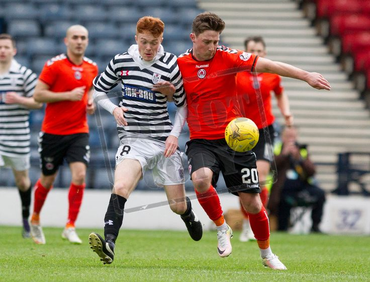 Queen's Park's Liam Brown battles for the ball during the SPFL League Two game between Queen's Park and Clyde
