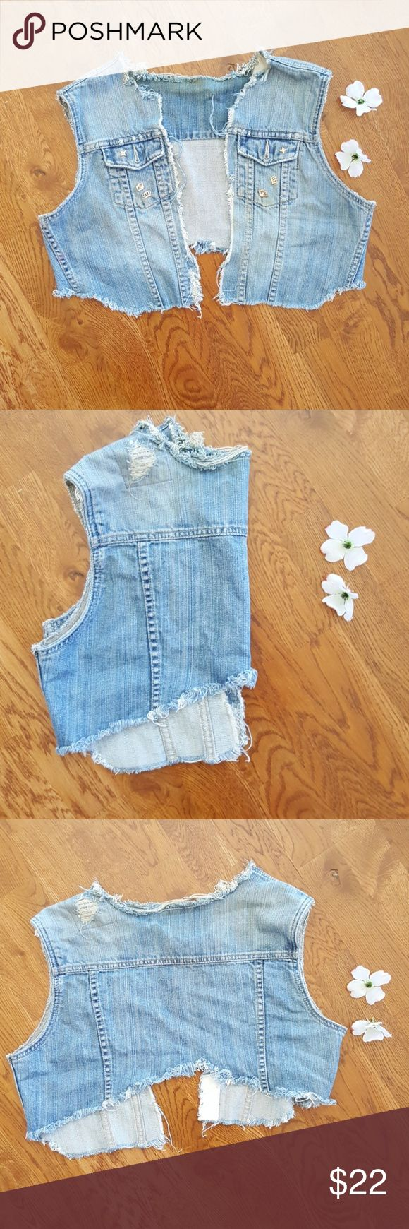 Distressed Handmade Blue jean vest Lovely stylish vest Jeans