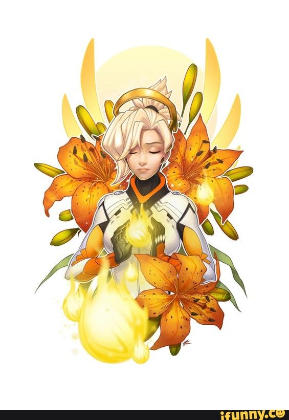 mercy, overwatch. I like the flowers with her logo