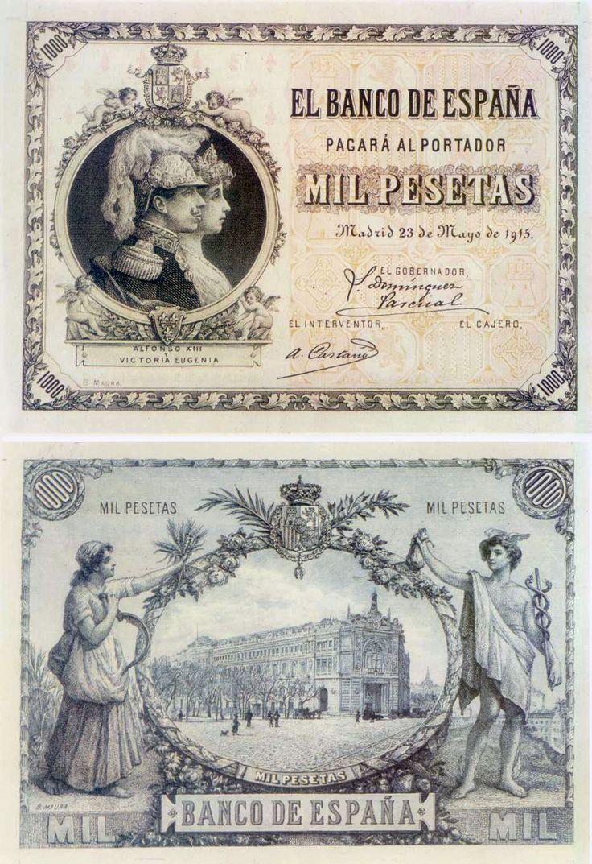 billetes antiguos de España- 1915, billete de 1000 ptas, anverso y reverso. Estos billetes no llegaron a circular por lo que no se enumeraron.