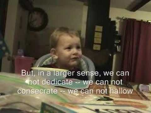 WOW -Two year old recites Gettysburg Address - CUTE