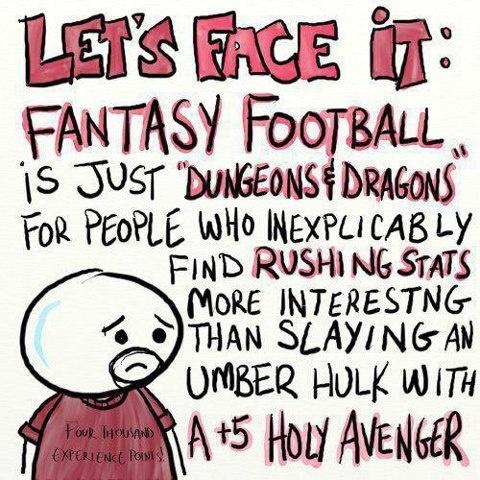 fantasy football = dungeons and dragons