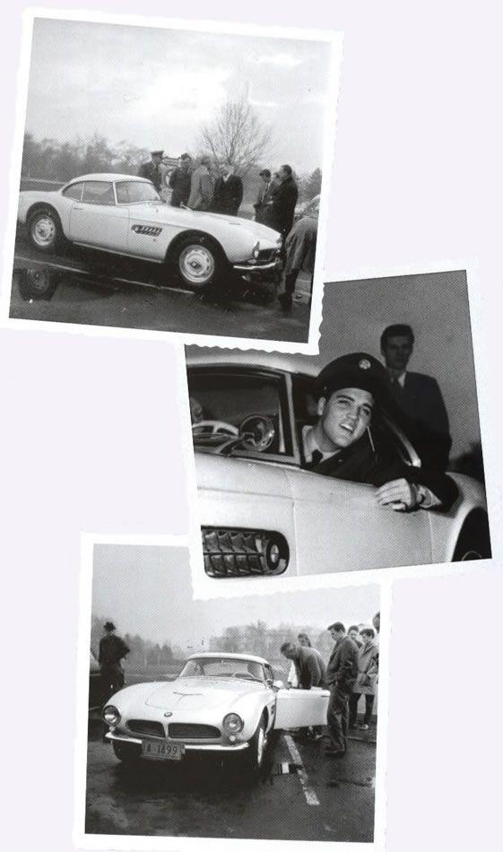 Elvis picking up his white BMW 507 - December 1958