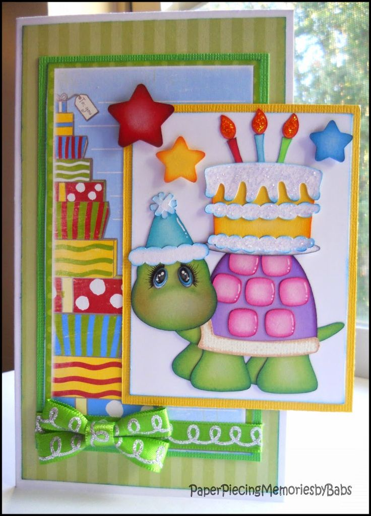 Turtle Birthday Card created by PAPER PIECING MEMORIES BY BABS