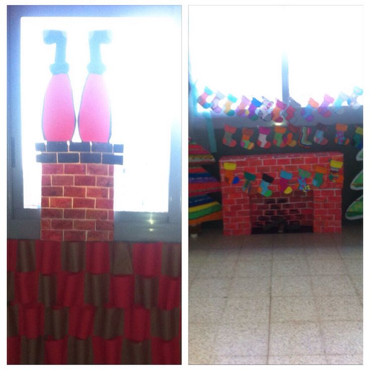 Christmas decoration at school #diy #rooftop #fireplace #stockings #santalegs #chimney #christmas #school #decoration Made with students, easy and spectacular.