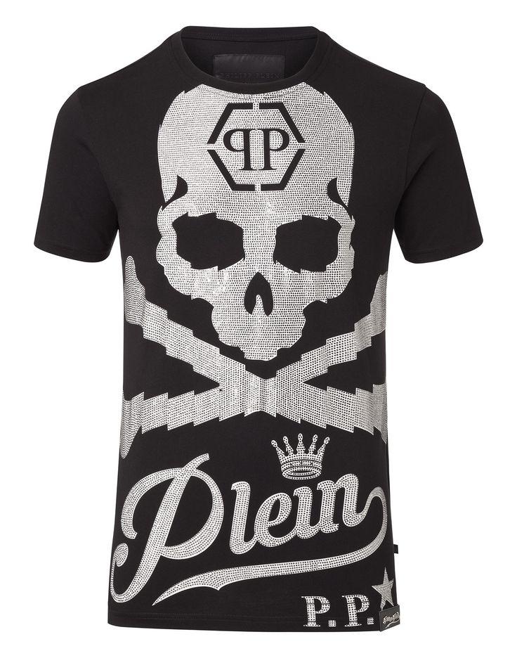"PHILIPP PLEIN T-SHIRT ROUND NECK SS ""BLACK AND WHITE"". #philippplein #cloth #"