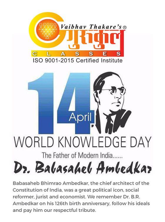 #GurukulScienceClasses On His Birth Anniversary today, Maharashtra salutes the great visionary Mahamanav BharatRatna Dr #BabasahebAmbedkar ! ------------------------------------------------------------------------- Kalyan Branches Kalyan Branch (H.O) : 2203922 I 2300632 Vrindavan Palm : 9224766873 Kolsewadi Branch Kalyan (E) : 9833546094 / 8291487837 ------------------------------------------------------ Bhiwandi Branches Mandai (Navi Chawl) : 9225155158   224055 Dhamankar Naka : 9503757959…