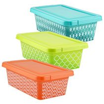 Bulk Trendy Rectangular Printed Plastic Storage Boxes with Lids at DollarTree.com  sc 1 st  Pinterest & 25+ unique Storage boxes with lids ideas on Pinterest | White ... Aboutintivar.Com