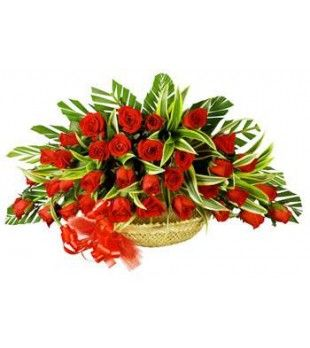 Send happiness to your near and dear with this beautiful flower basket. #flowerstoindia #36redrosesbasket