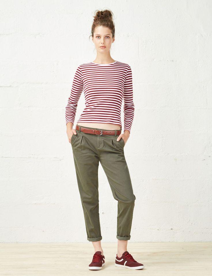 Pantalon chino bleu marine femme • Jennyfer