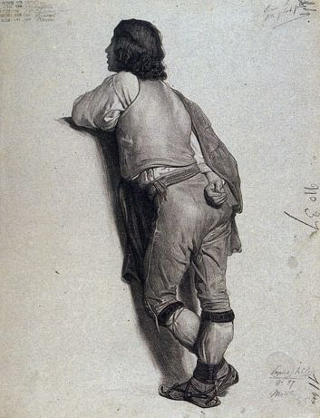 Plate II, 37. Adolphe-William Bouguereau, A Pifferaro. Study painted from lif'e (Pifferaro. [Etude peinte d'après nature].) Whereabouts unknown. praxis | Old Master Drawing Bargue-Gérôme Drawing Course II