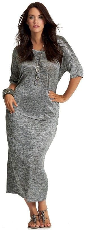 Silver dress, accessories and sandals done right #plus_size_fashion