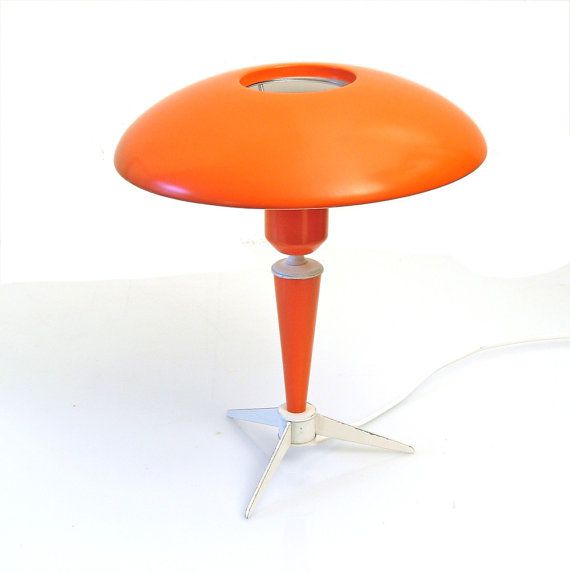 Philips Louis Kalff orange table lamp, Eames, Mathieu Mategot, Jacques Biny, Serge Mouille, Charlotte Perriand, Pierre Chareau on Etsy, $385.26