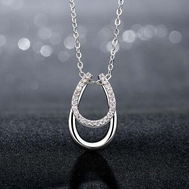 Rhinestone Double Horseshoe Necklace