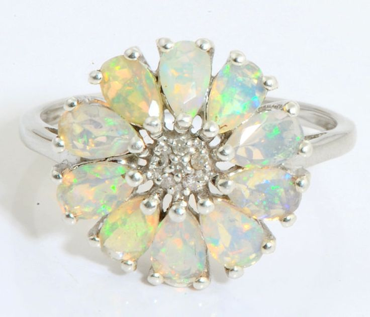 ETHIOPIAN OPAL 1.00 CT GEMSTONE DIAMOND RING IN 925 STERLING SILVER #R5147