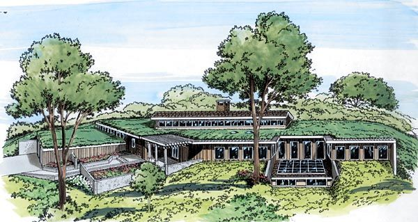 contemporary earth sheltered s retro house plan 10416   house