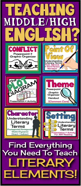 Absolutely everything you need to teach theme, conflict, point of view, plot, character, setting more!