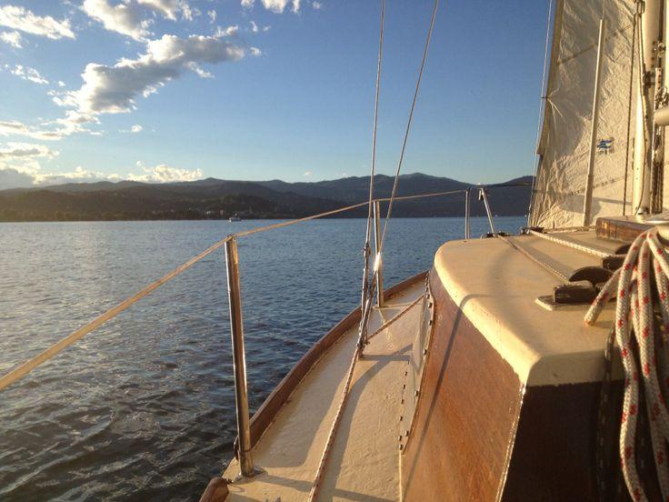 Sailing at sunset on Lake Maggiore