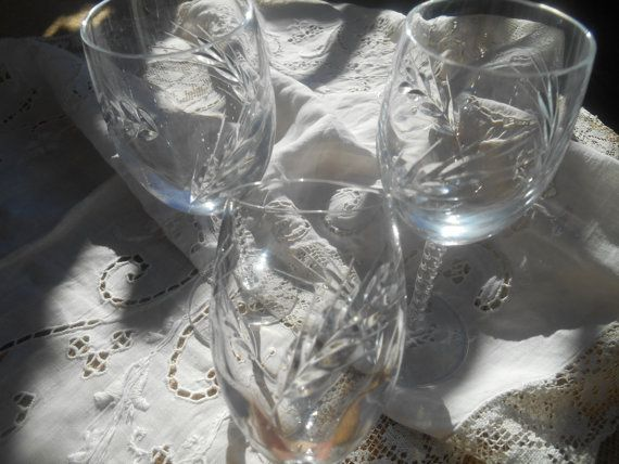 Antique French Lead Crystal Cut Liquor Glasses.  Ear Wheat Antique French Hand Etched #Glasses .  Size: 3 Diameter : 1.5  in. =  4 cm    Tall : 5.2  in. = 13.4 cm   Gorgeous... #antiquedecor #victorian #antiques #homedecor #porcelain #glasses