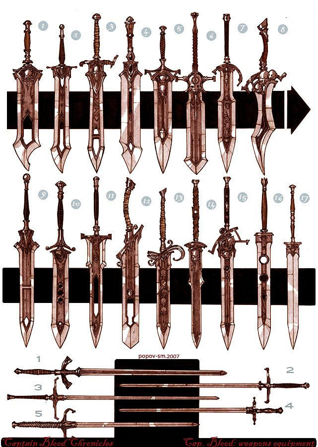 C.B.C weapons 01 by Popov-SM sword equipment gear magic item   Create your own roleplaying game material w/ RPG Bard: www.rpgbard.com   Writing inspiration for Dungeons and Dragons DND D&D Pathfinder PFRPG Warhammer 40k Star Wars Shadowrun Call of Cthulhu Lord of the Rings LoTR + d20 fantasy science fiction scifi horror design   Not Trusty Sword art: click artwork for source