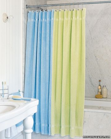 terry-cloth shower curtain - sew together two bath sheets (large towels) and put in grommets.  So cozy!