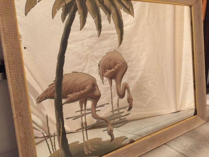 "Vintage Mid Century Modern Miami Deco TURNER Pink Flamingo Mirror 21""x29"" #MidCenturyArtDeco #Turner"