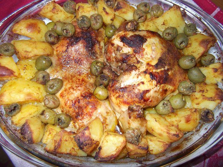 Pui cu măsline și cartofi la cuptor - rețetă marocană