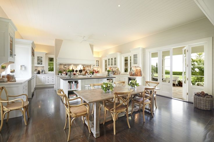 The country-style kitchen, shown here, was designed to be simple and practical—and has a scullery behind it.