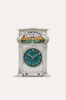 AN EDWARDIAN SILVER AND ENAMEL CYMRIC CLOCK